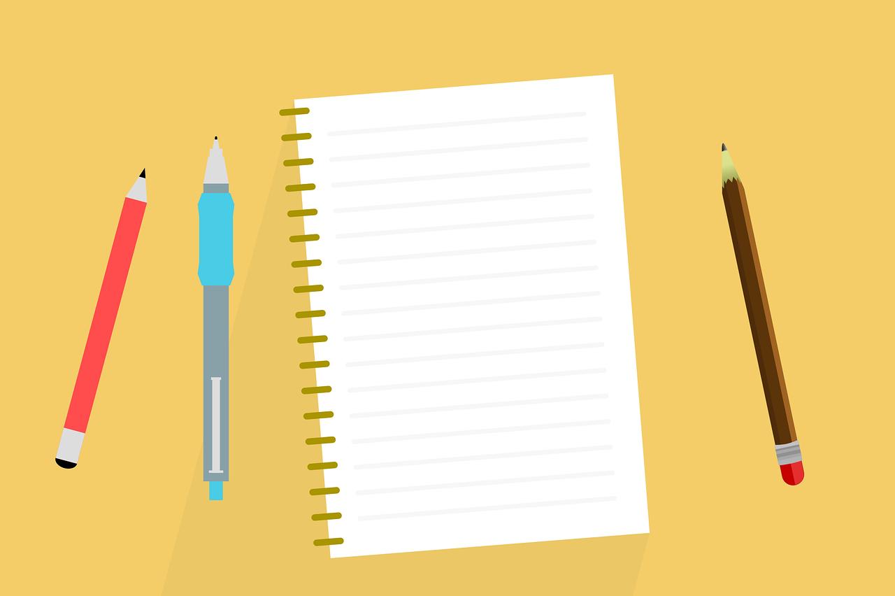 ペンとノートのイラスト