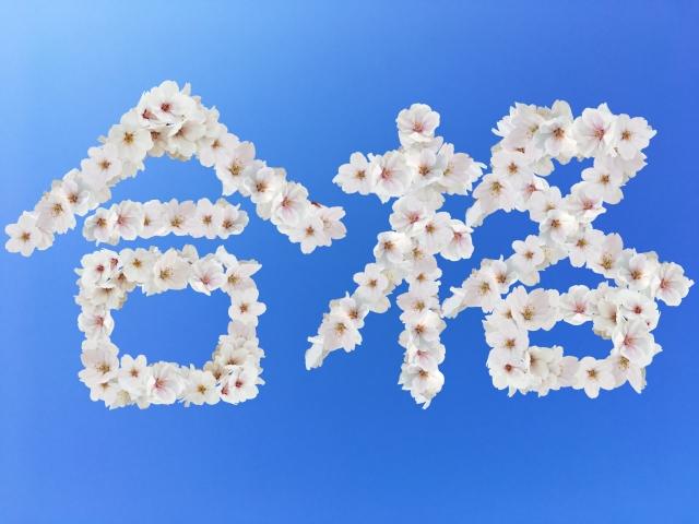 青空に書かれた花の合格文字